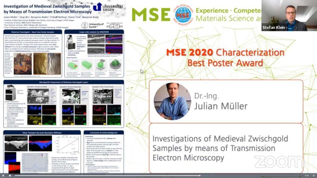 Julian Müller - MSE 2020 Best Poster Award